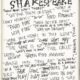 scribbled words in black ink on a note pad showing dozens of words and phrases Shakespeare coined