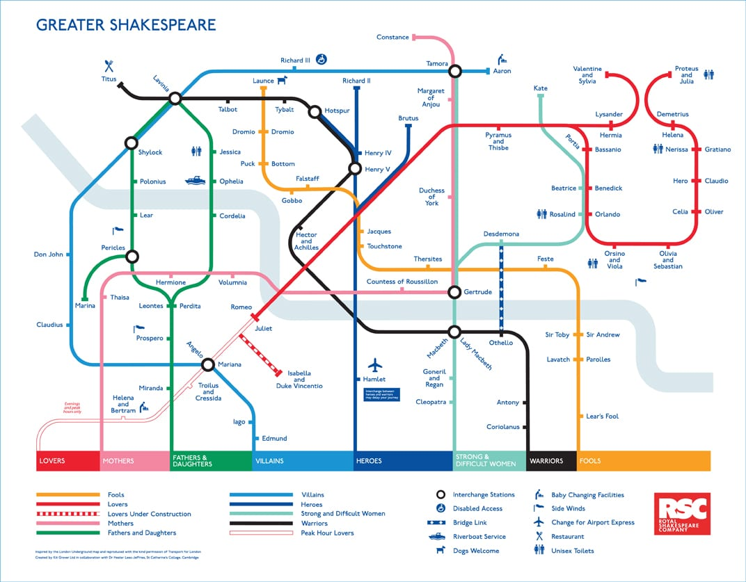 Shakespeare Tube Map - No Sweat Shakespeare