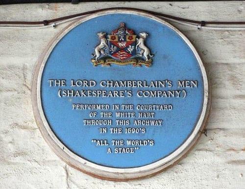 Lord Chamberlain's Men plaque
