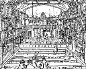 Interior sketch of Blackfriars Theatre
