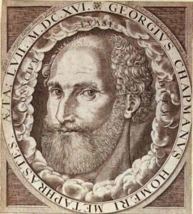 """Portrait of George Chapman from frontispiece to his """"Whole works of Homer"""""""