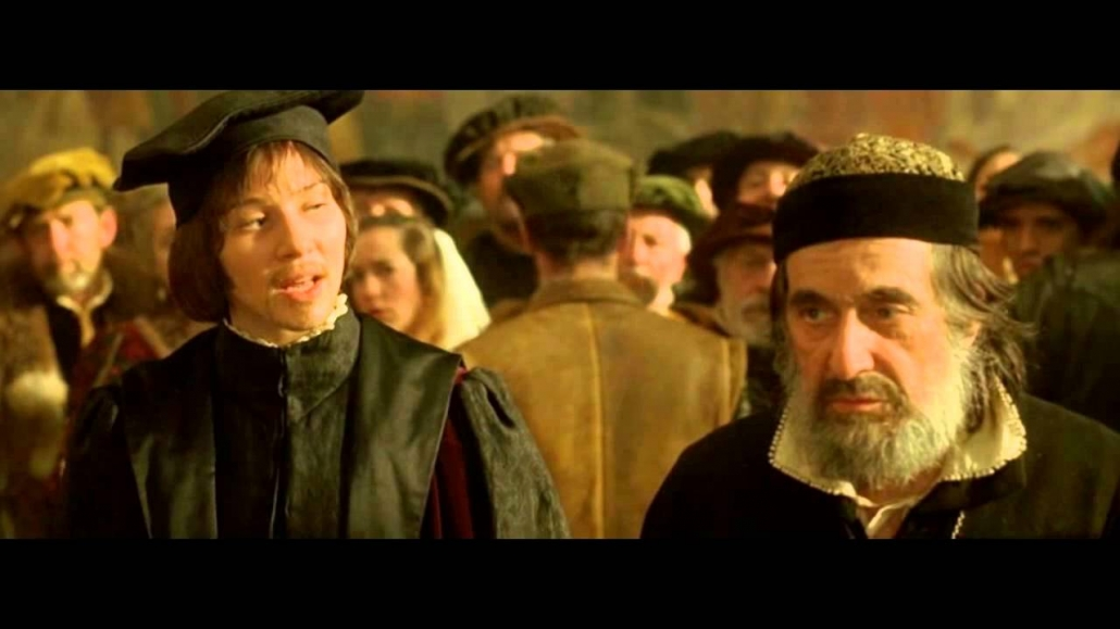 Al Pacino as Shylock with white beard and black hat in The Merchant of Venice (2004)
