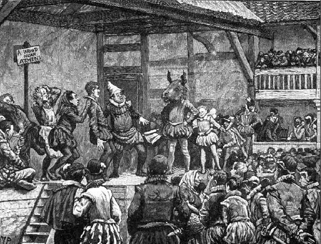A drawing of a Jacobean theatre scnee, with actors on stage surrounded by a crowd