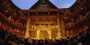 Globe theatre interior at dusk