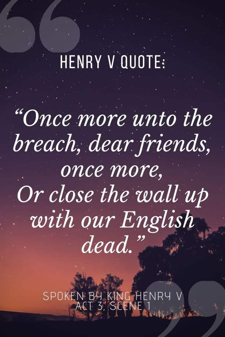 Henry V quote graphic for pinterest, featuring King Henry's