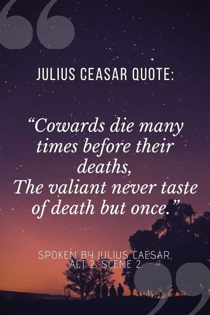 Julius Caesar quotes on dusky purple background