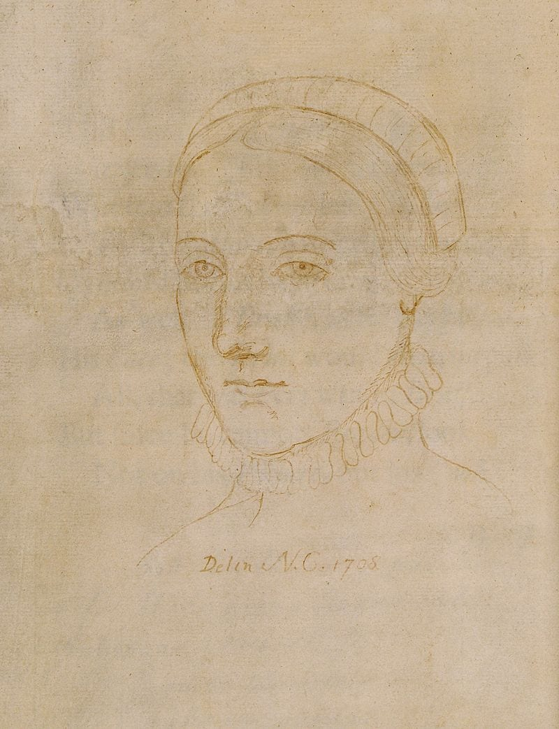 Old looking drawing of Anne Hathaway, Shakespeare' wife