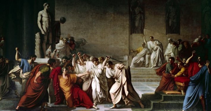 Caesar is set upon by senators wearing white on the ides of march, in Roman play Julius Caesar