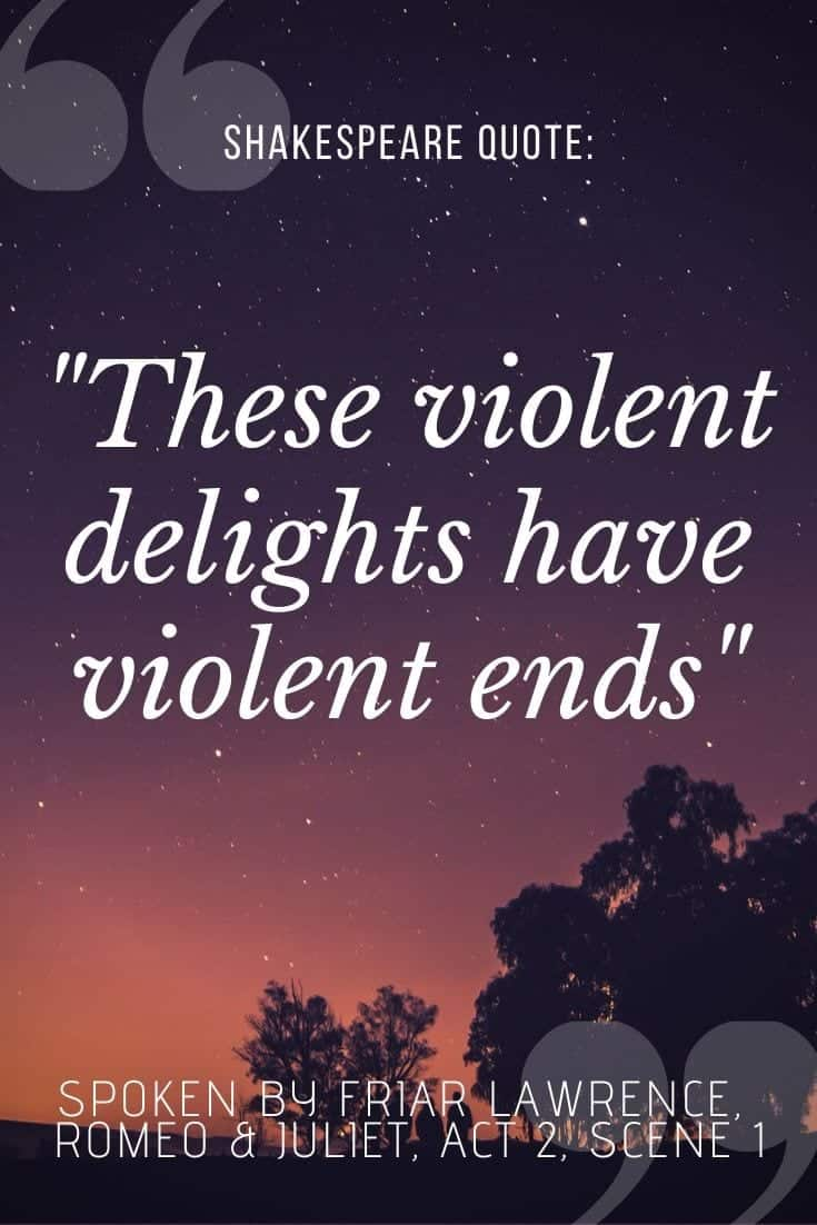 'these violent delights have violent ends' quote written on dusky sunset background