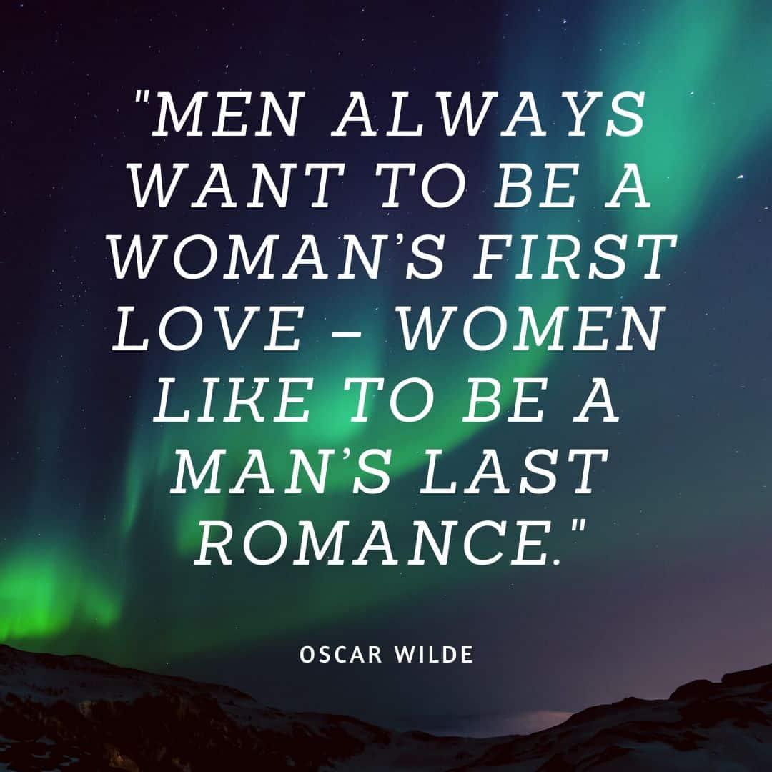 oscar wilde love quote written on starry background
