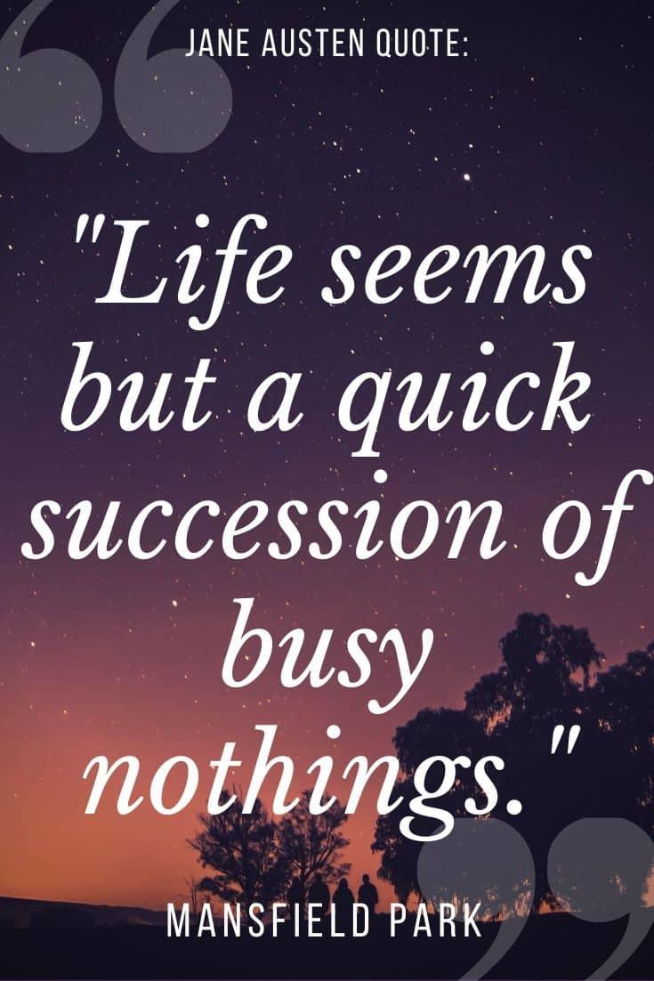 Jane Austen quote on sunset purple backgorund -
