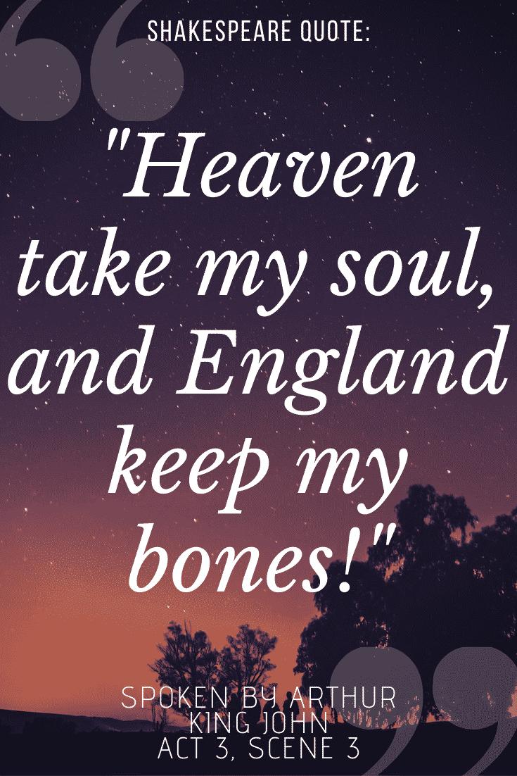 King John quotes on sunset background -