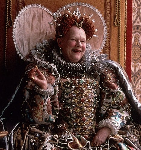 Queen Elizabeth I laughing, as played by Dame Judi Dench
