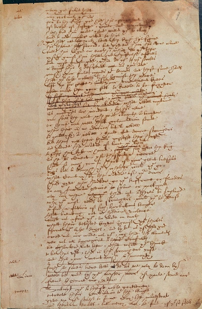 shakespeare's handwriting from Sir Thomas More play text