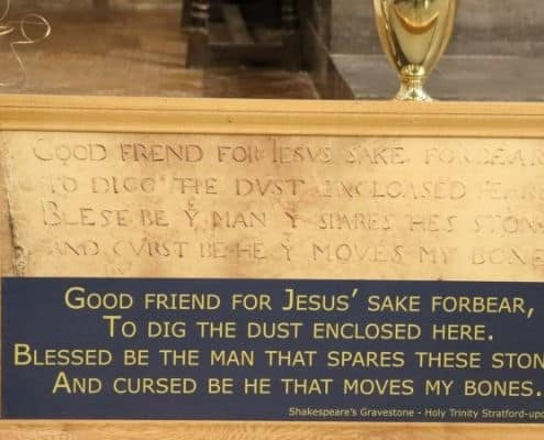 The lines of verse on Shakespeare's gravestone in Holy Trinity Church