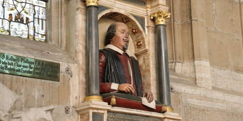 The Holy Trinity Bust of Shakespeare on wall of church