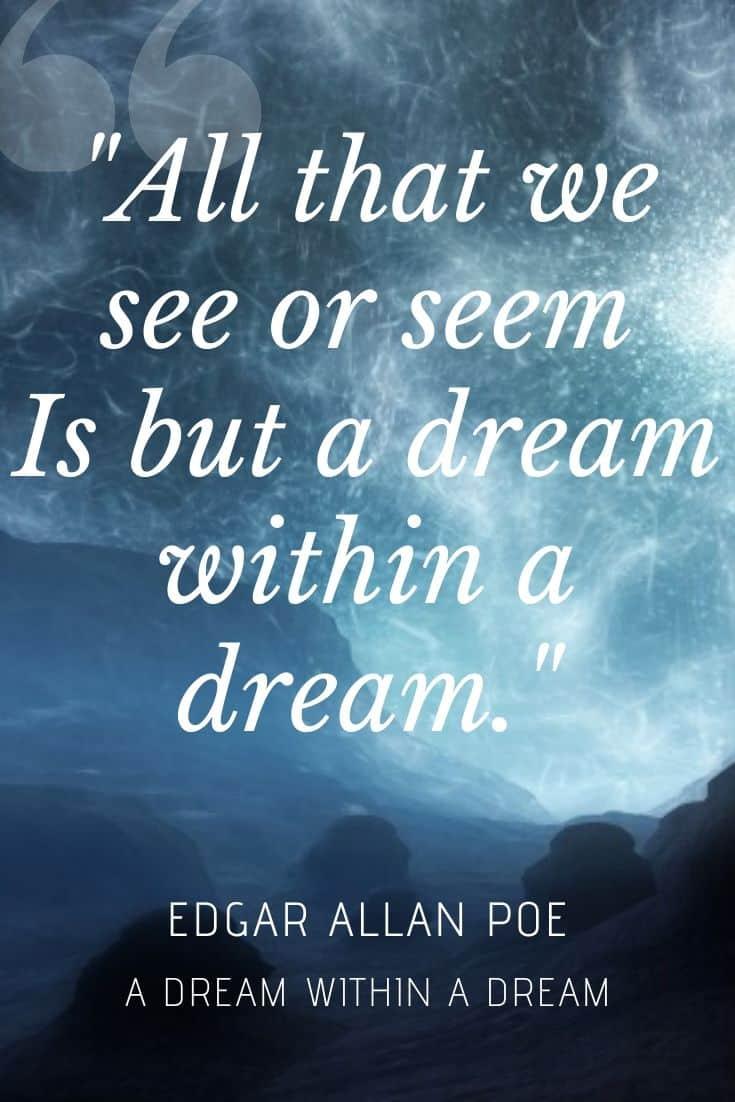 Edgar Allan Poe quote on dreamy background -