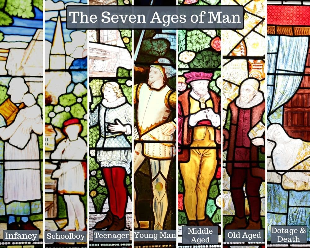 Images of each of the seven ages of man, taken from photos of stained glass windows in Shakespeare's Memorial Theatre