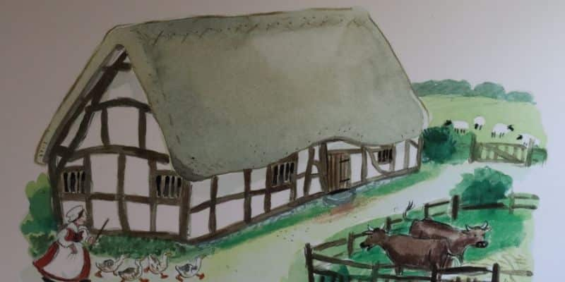 Artist drwaing of Anne Hathaway's cottage in 16th century - a small, single story thatched farmhouse with animals in garden