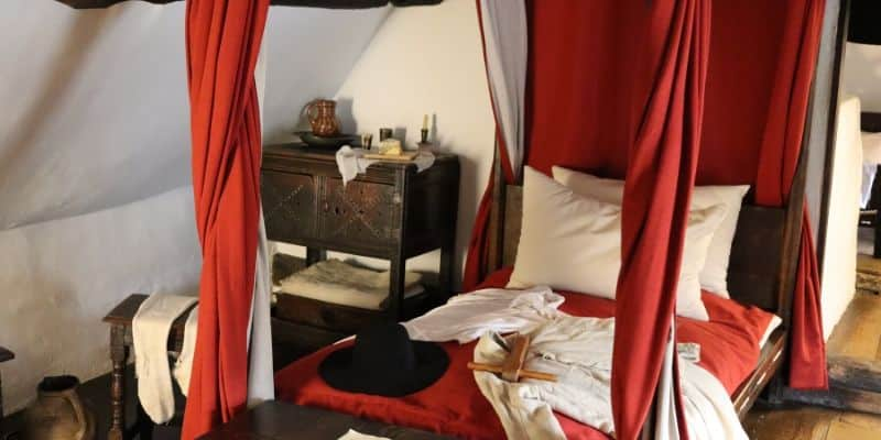 Tudor four poster bed in Anne Hathaway's Cottage that may have been Shakespeare's marital bed