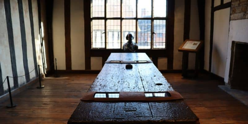 The prefect room at Shakespeare's school, complete with Shakespeare's desk