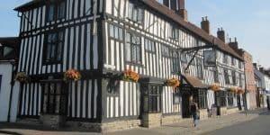 Tudor wooden beamed hotel in Stratford upon Avon