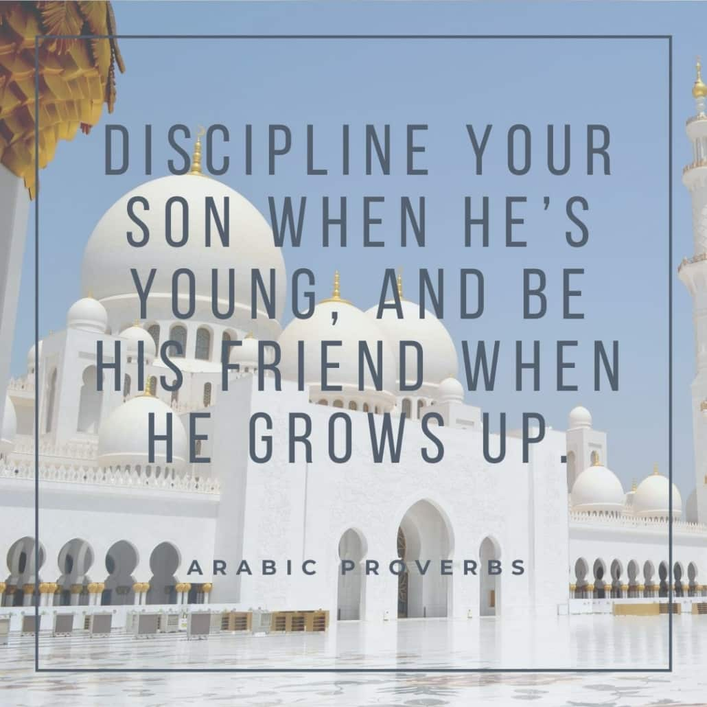 arabic proverbs - discipline your son when he's young, and be his friend when he grows up