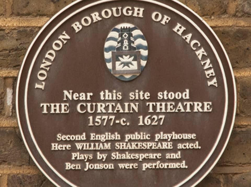 the curtain theatre plaque