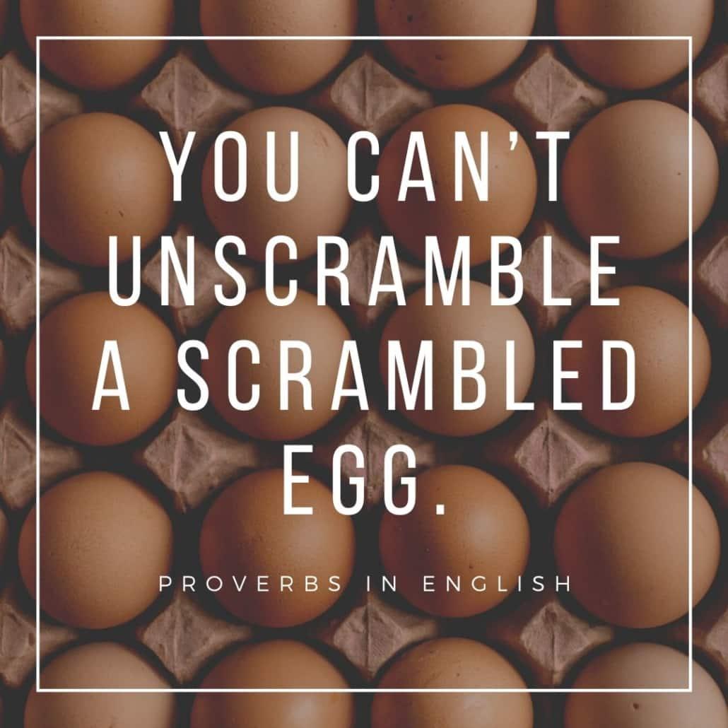 english proverbs - you can't unscramble a scrambled egg