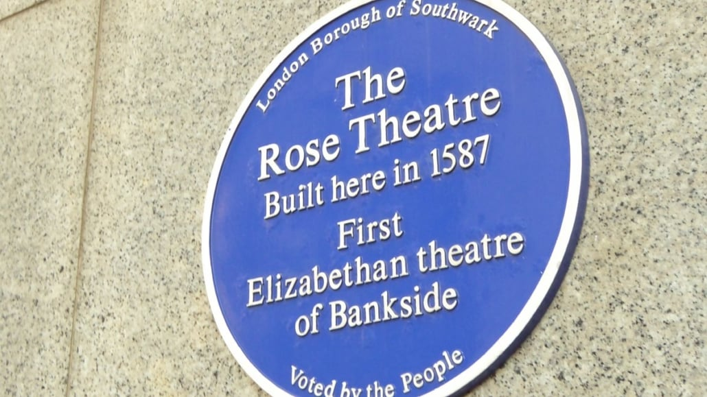 the rose theatre, bankside blue plaque
