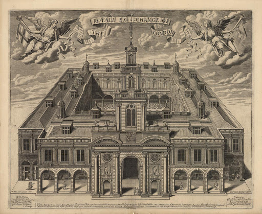 print of royal exchange from 1669