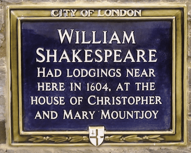 plaque to Shakespeare's lodgings in Silver Street, St Pauls