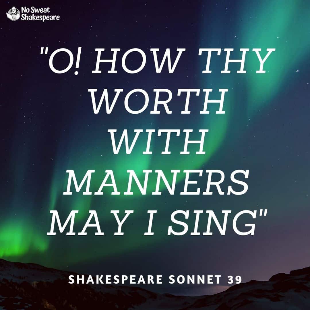 shakespeare sonnet 39 opening line opening line