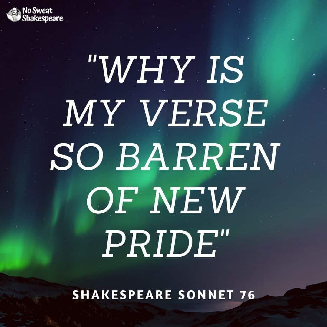 shakespeare sonnet 76 opening line